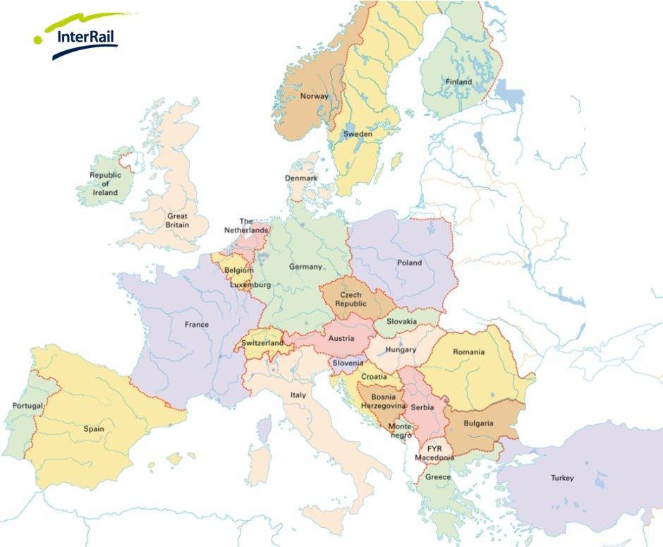 Interrail ve Eurail geçerli olduğu ülkeler
