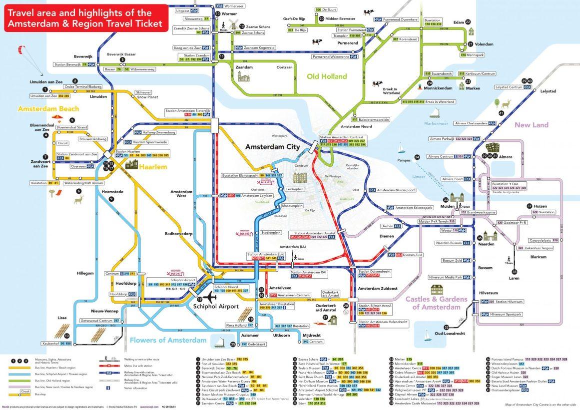 Amsterdam toplu taşıma haritası