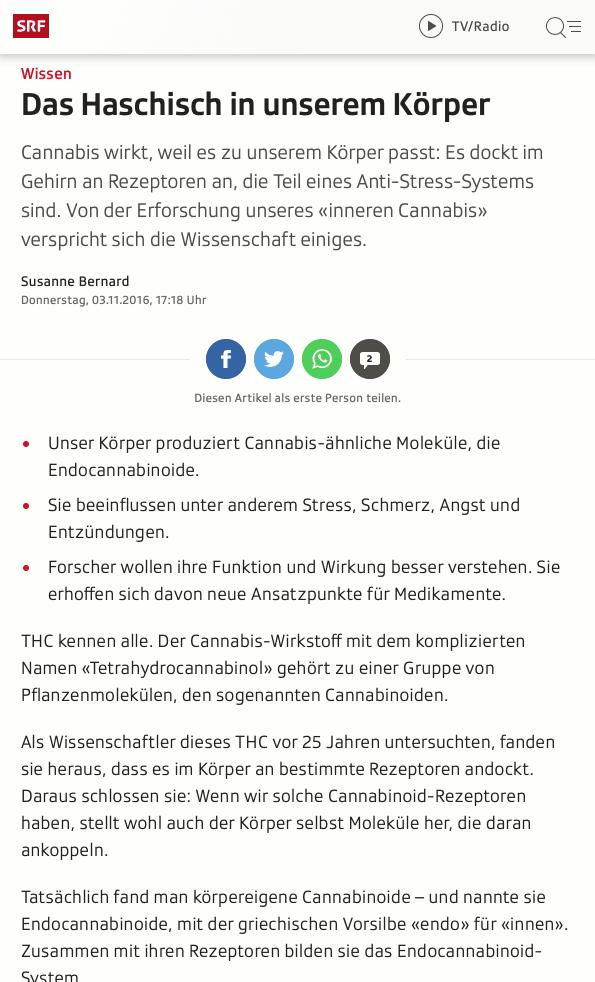 Screenshot Artikel Endocannabinoide