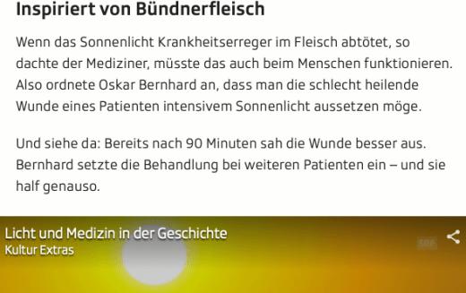 Screenshot Ausschnitt Artikel Sonnenlicht