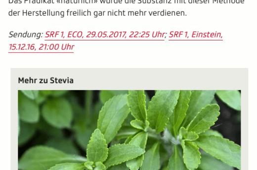 Screenshot Ausschnitt Artikel Stevia