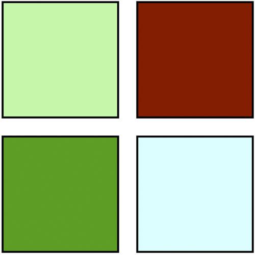 De kleuren die nodig zijn in vlakken