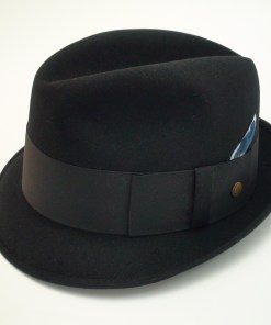 Champ Hats Kasmir Finish Black Fur Felt Trilby Fedora Hat