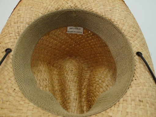 Western Straw Raffia Cowboy Hat with Sheriff Badge and Chin Cord