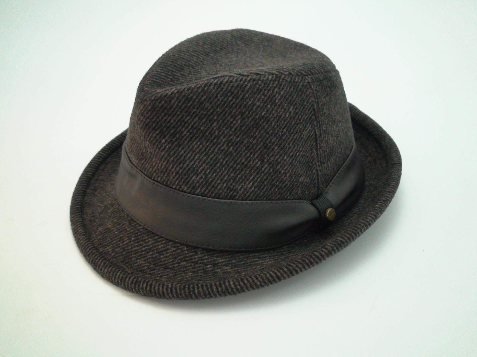Stetson Herringbone Brown Wool Blend Trilby Fedora Cloth Hat 7349b120947