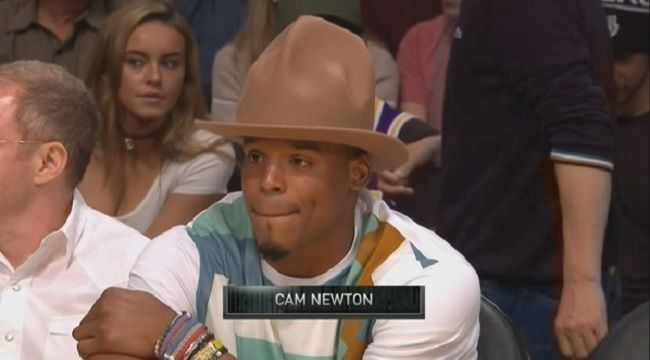 Cam Newton's Pharrell-Style Hat Made Quite An Impression At The Lakers-Cavs Game