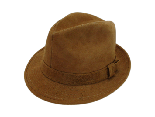 Churchill Hats Suede Leather Brown Fedora Hat