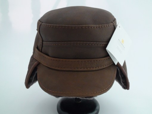 Ricardo Sheepskin Brown Leather Winter Captain Hat
