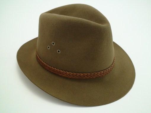 Adam Hats Genuine Fur Felt Brown Outback Fedora Hat