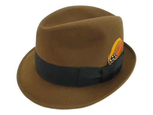 Churchill Hats Fedora Tobacco Brown Fur Felt Hat