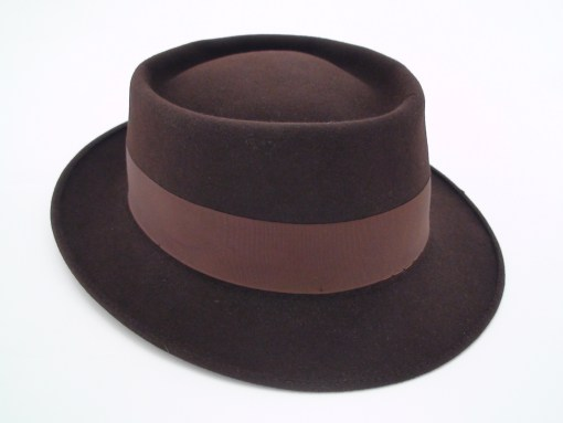 Vintage Adam Hats Pork Pie Brown Fur Felt Fedora Hat