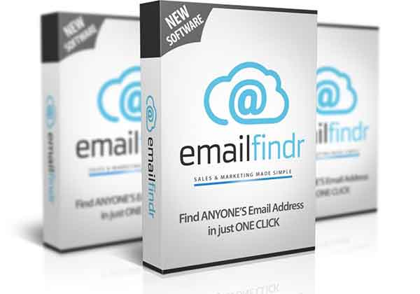 Mockup cover of EmailFindr on three boxes