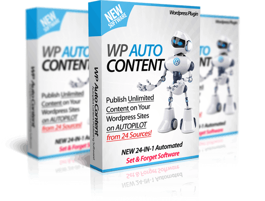 Mockup cover of WP Auto Content on three boxes