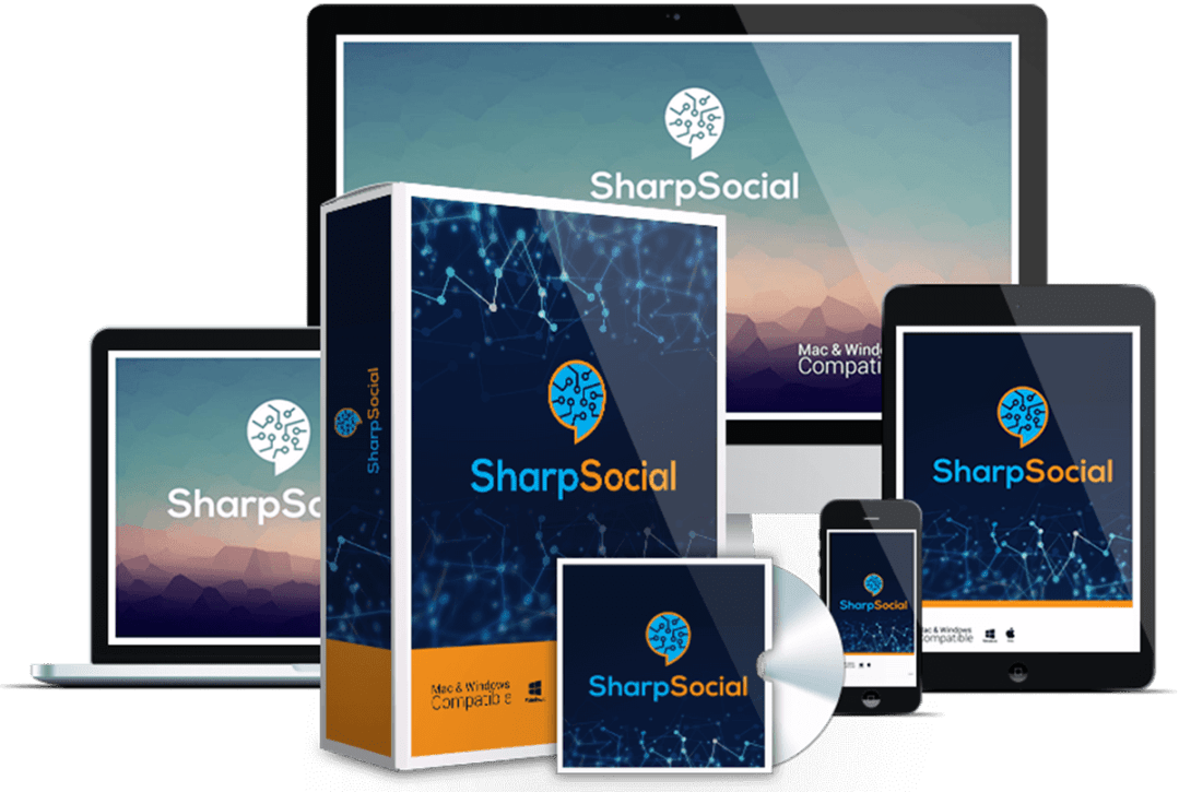 Mockup cover of SharpSocial on a screen monitor, CD, smartphone and a box