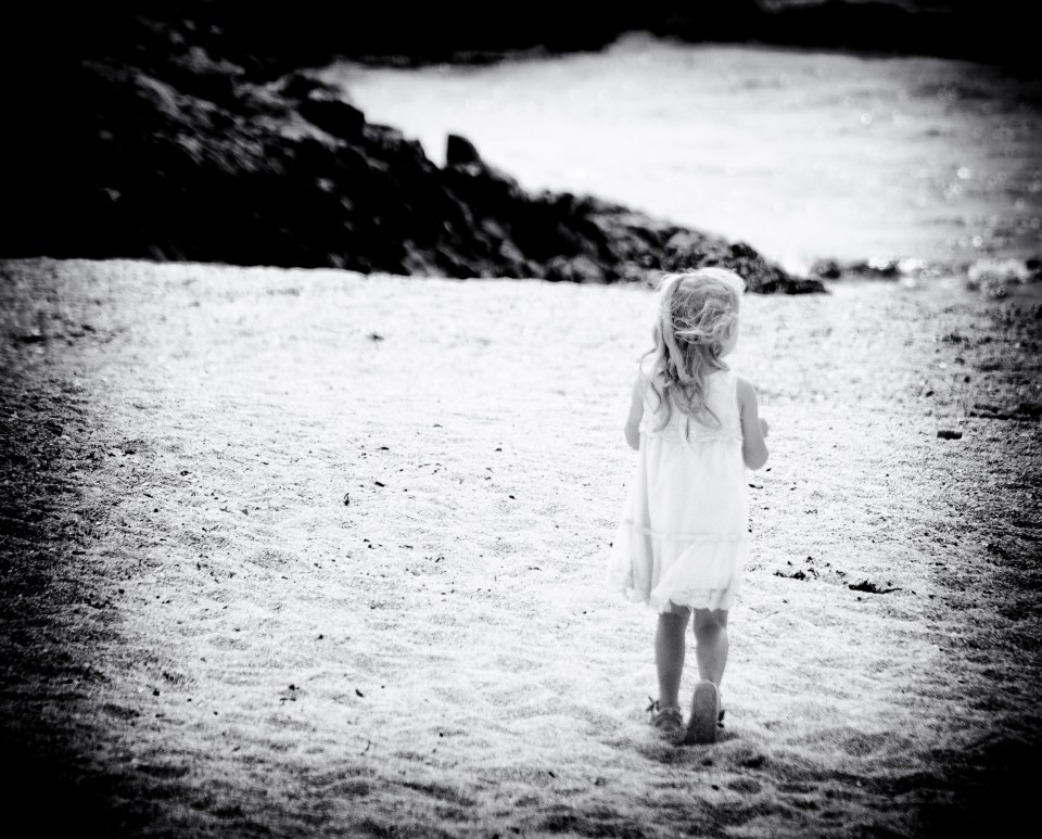 Remembering back to the storytelling of my childhood, a little girl on the beach. Bernie Delaney
