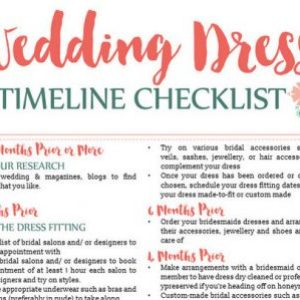 wedding dress planning timeline printable snow white and seven