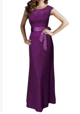 M262 - Vintage Lace Evening Dress - Purple