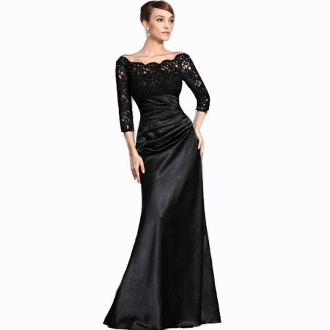 Scalloped Lace Sleeved Contour Evening Gown