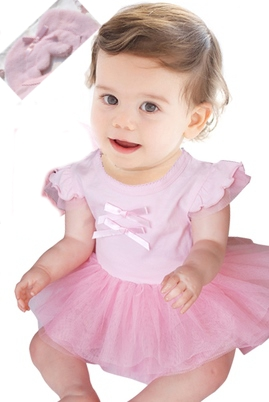 BABY ANGEL Tutu Romper Pink Front
