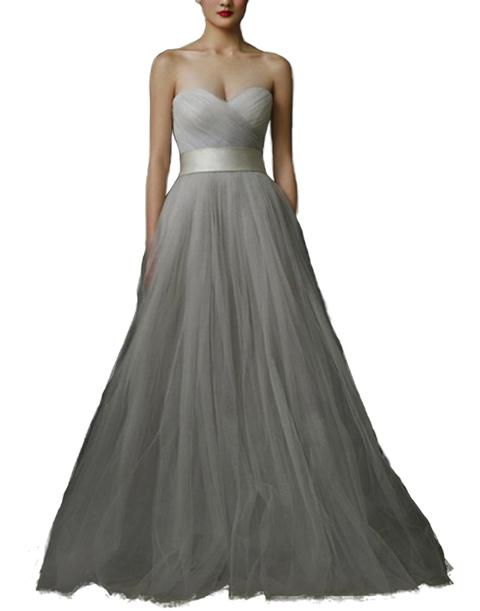 M253 Strapless Sweetheart Poplin Evening Dress – Light Grey | Snow ...