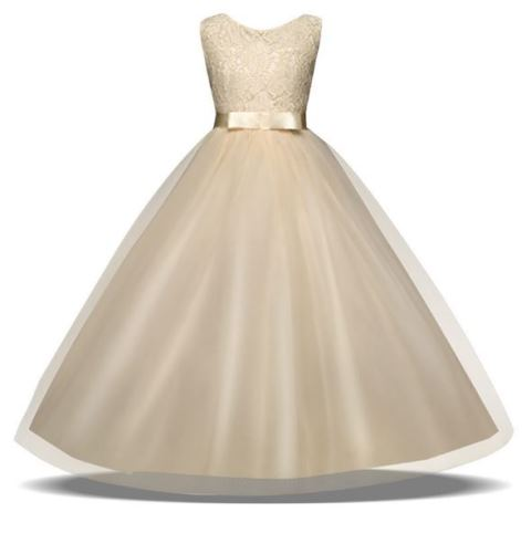 FG110 Long Flowergirl Dress with Lace Bodice And Satin Belt - Champagne