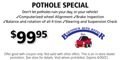 Pothole Special Coupon
