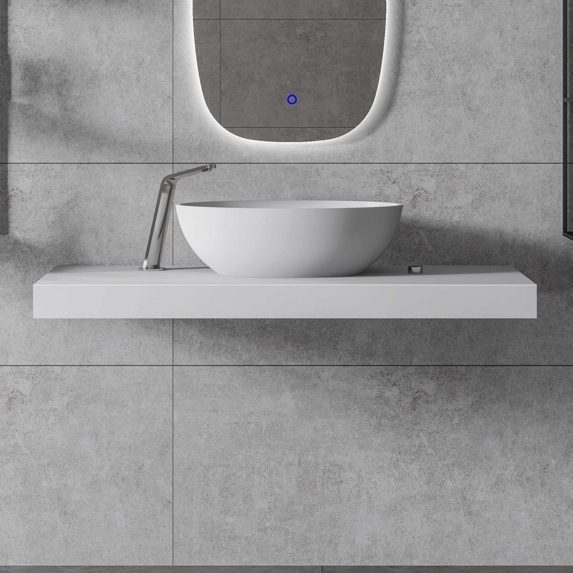 mineral cast countertop basin shelf b30 matt white selectable width
