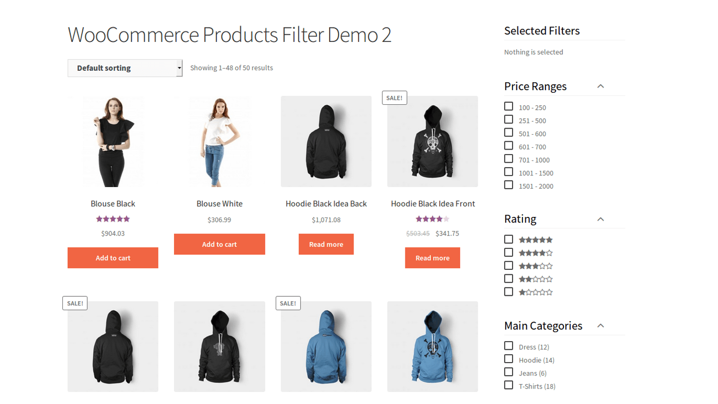 Online store Product filters