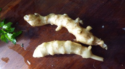 Scrubbed jerusalem artichoke tubers