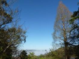 September: mist under blue sky