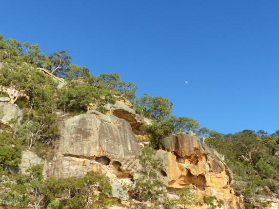 eagle rocks and moon closer