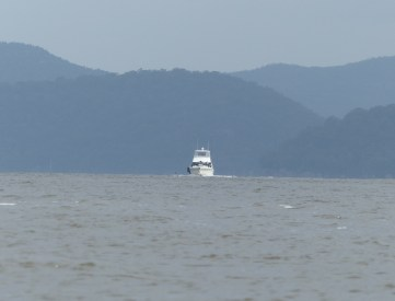 White boat, blue hills at Kuring-gai National Park