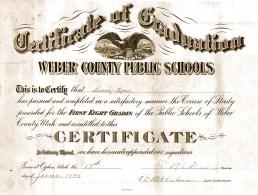 Harriet Brown's 8th grade graduation certificate