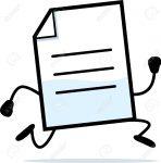 A cartoon illustration of a document running.