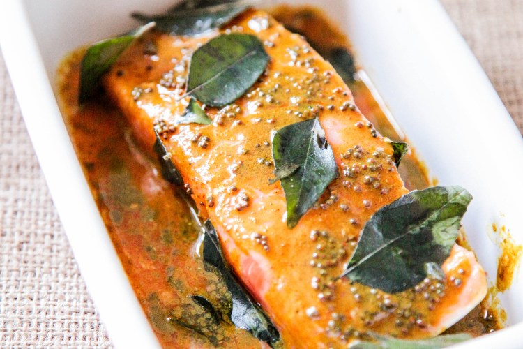5 Minute Salmon Indian Style With Garam Masala Curry Leaves