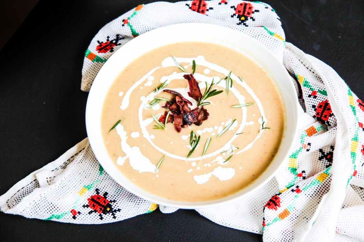 Parsnip Chestnut Soup with Apples and Bacon