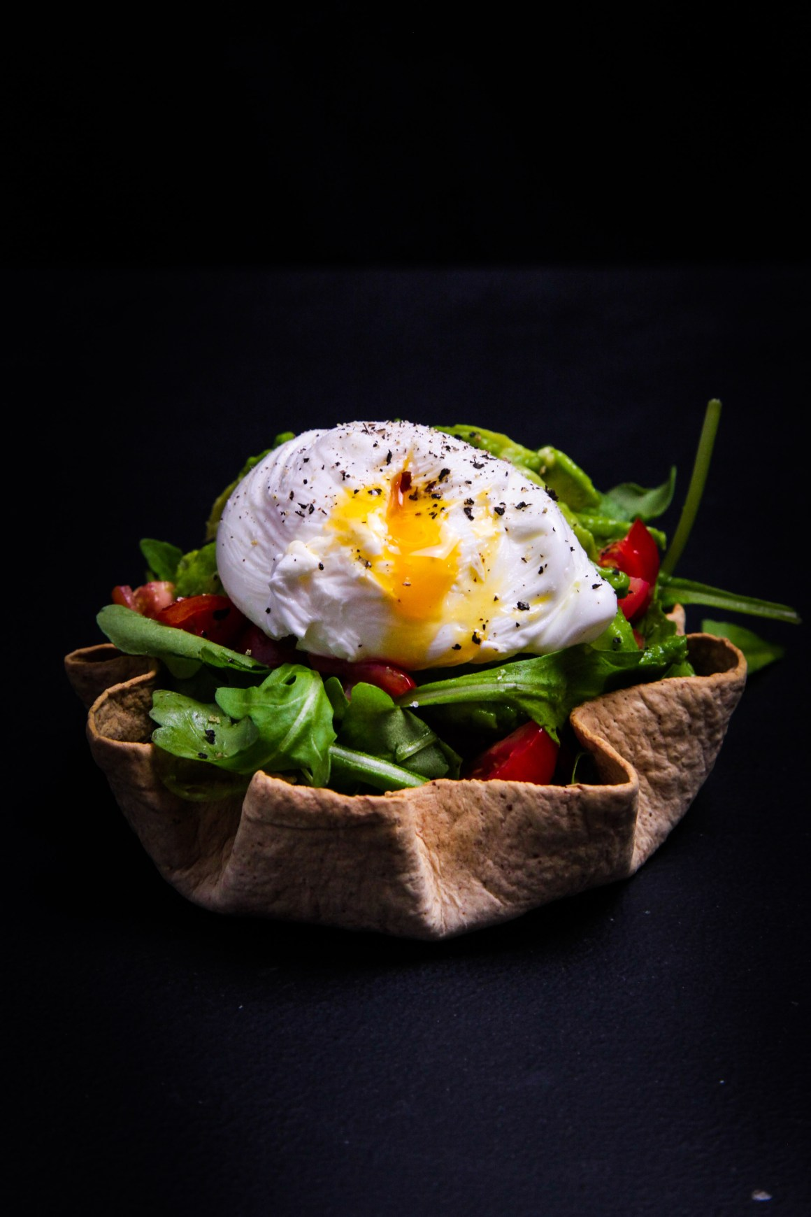 Poached Egg Tortilla Nests with Avocado, Rocket and Tomatoes