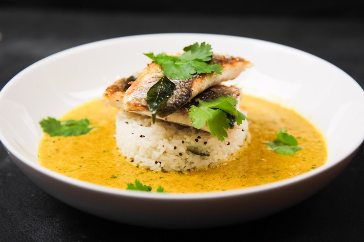 Very Simple Herbal Curry with Sea Bass and Lemon Rice