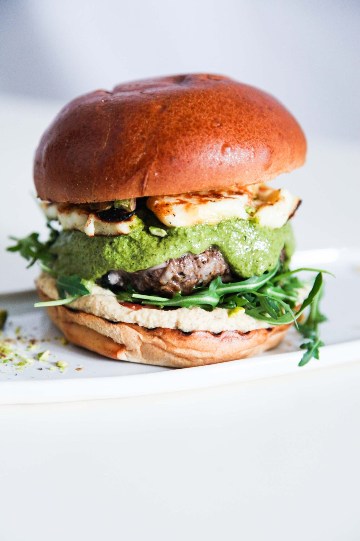 Super Tasty Lamb Burger with Halloumi and Green Herb Sauce