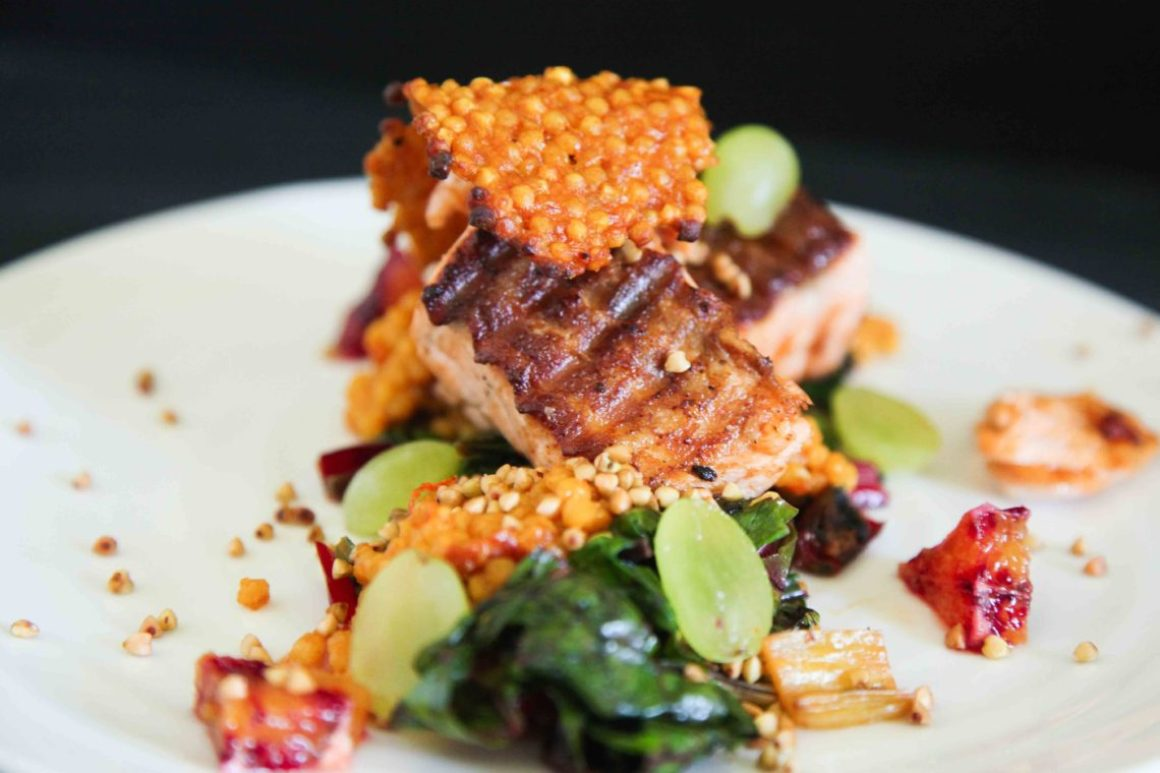 Berries and Spice   Crispy Salmon with Ruby Chard, Giant Couscous and Grapes