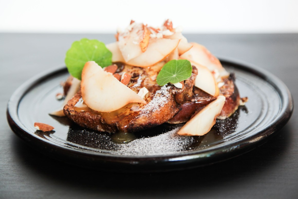 Babka Pain Perdu with Pears and Lemon Curd | Berries and Spice
