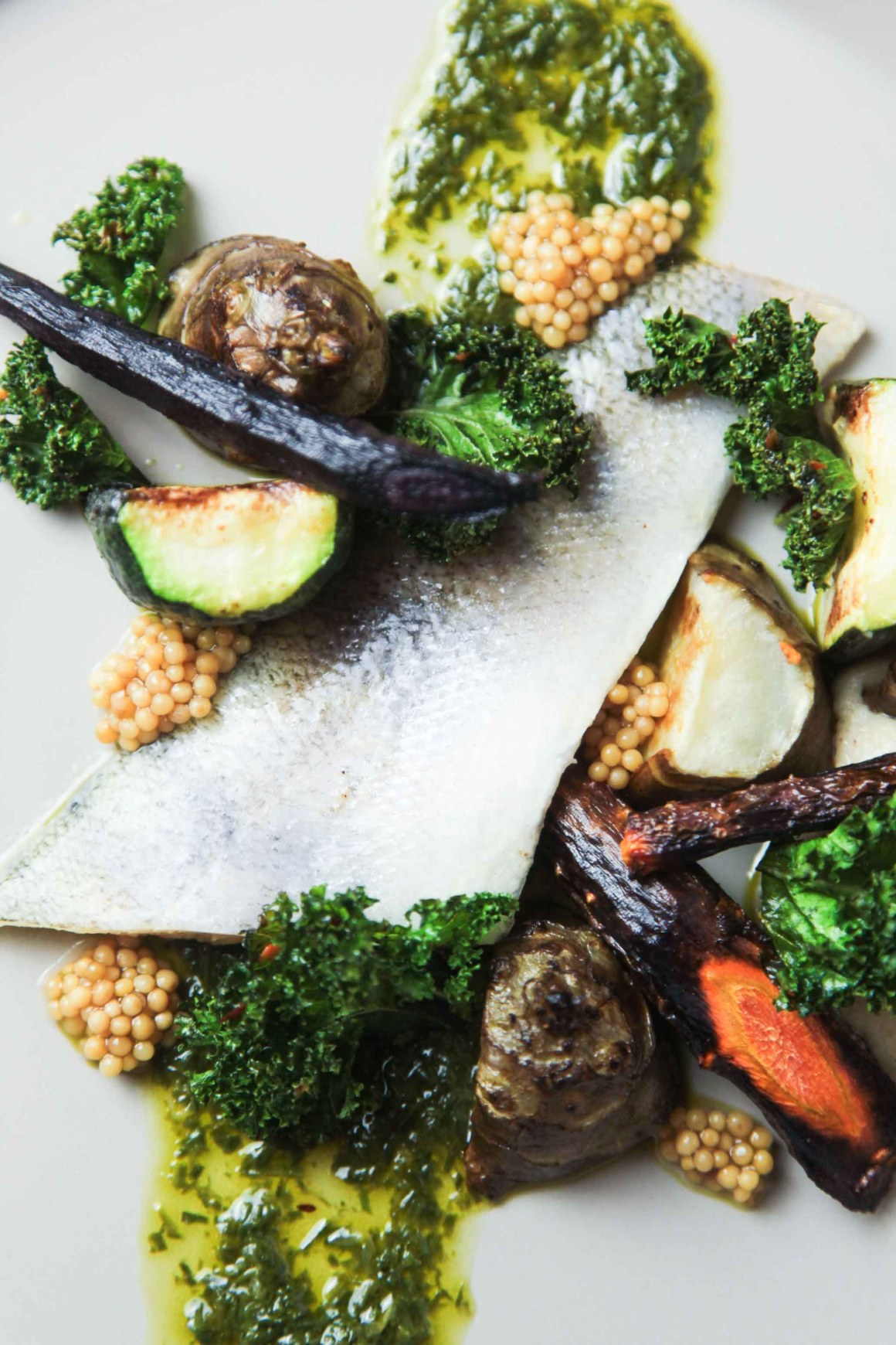 Pike Perch with winter vegetables, wild garlic, crispy kale and mustard | Berries and Spice