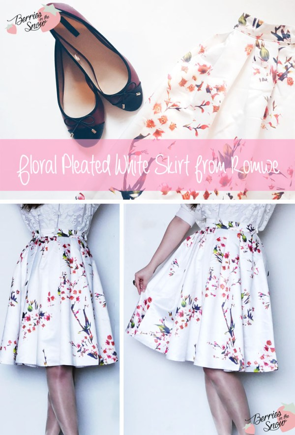 Floral Pleated White Skirt by Romwe