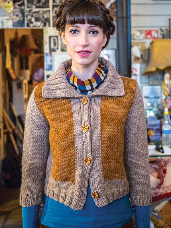 Simultane cardigan knitting pattern in Berroco Ultra Alpaca Chunky
