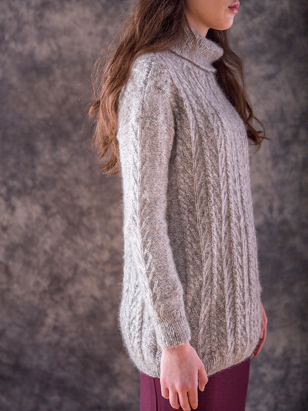 Pine sweater knitting pattern in Berroco Briza