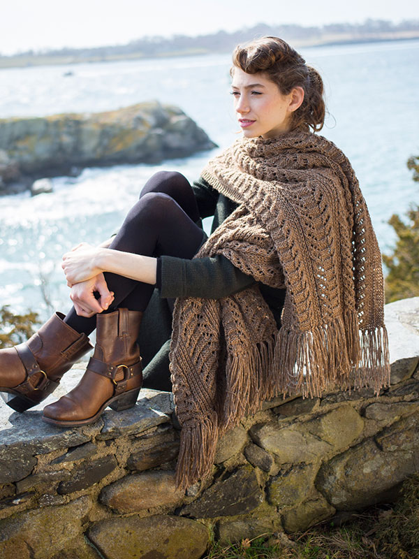 Yew scarf knitting pattern in Berroco Tuscan Tweed