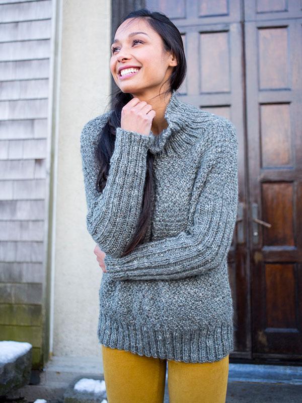 Alwen sweater knitting pattern in Berroco Inca Tweed