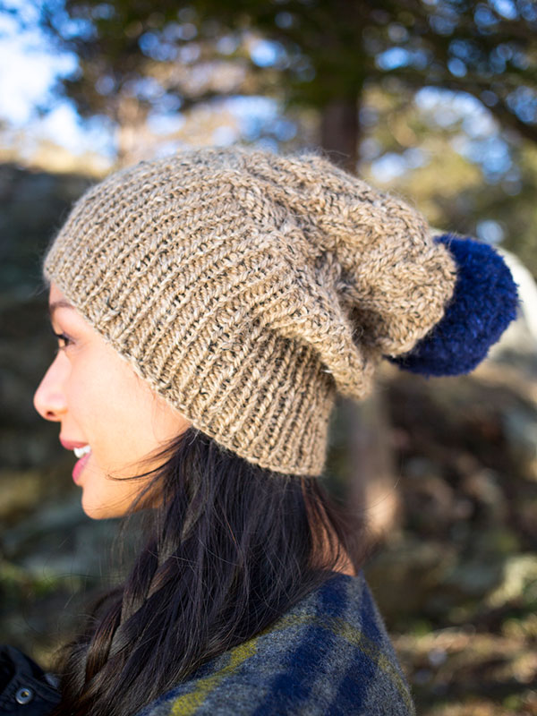 Glynis hat knitting pattern in Berroco Inca Tweed
