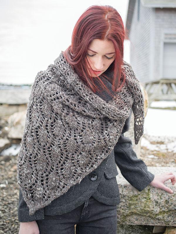 Tipperary shawl knitting pattern in Berroco Inca Tweed