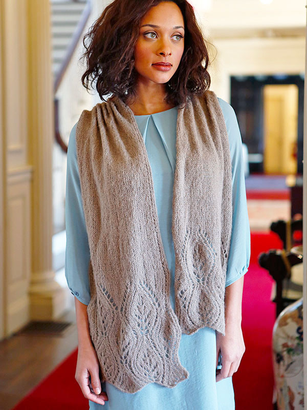 Waterhouse, a free scarf knitting pattern in Berroco Andean Mist